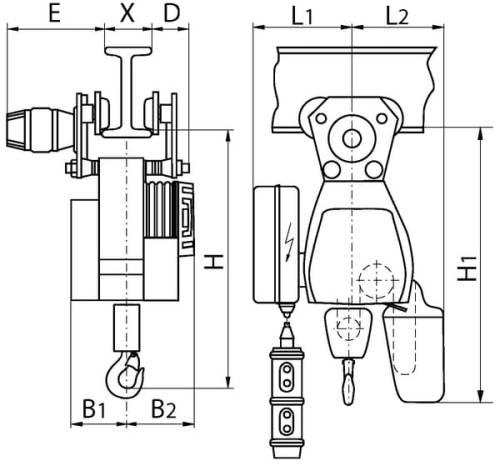 Габаритные размеры электрического тельфера цепного г/п 1000 кг