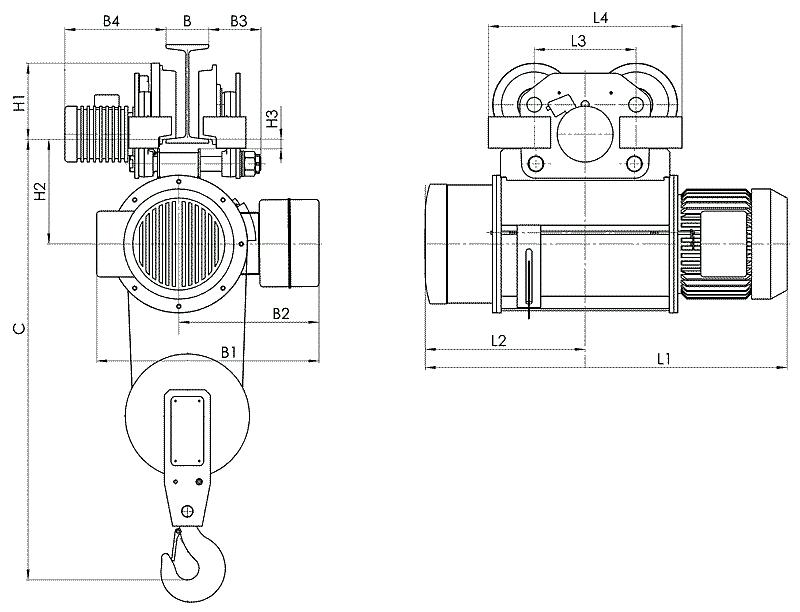 Электрический тельфер канатный г/п 1т.